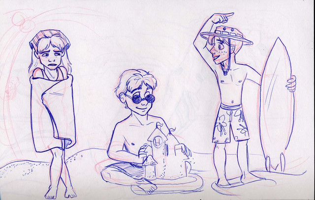 A random drawing of the trio at the beach (with horrible proportions)