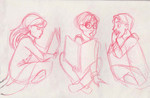 An early drawing of the trio studying