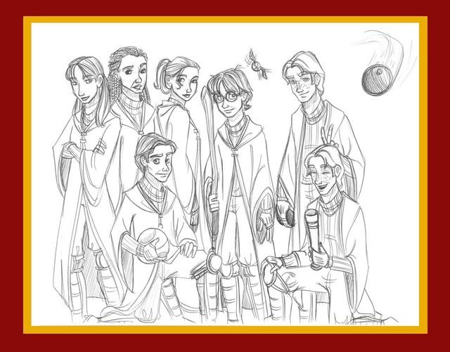 A wallpaper version of the Gryffindor Quidditch Team