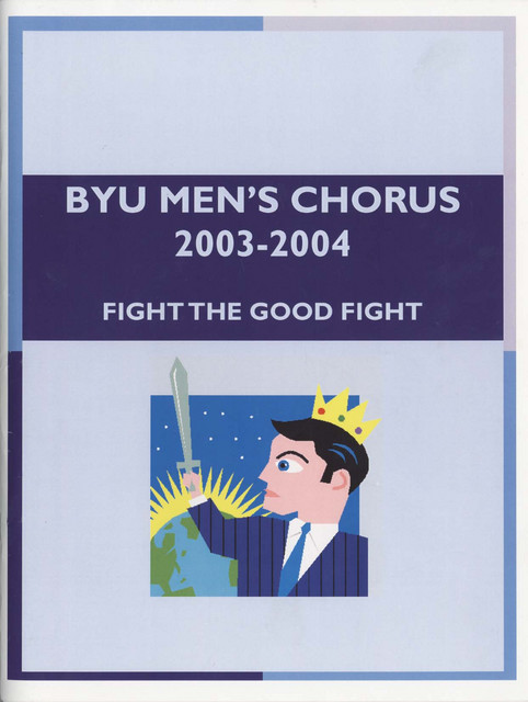 The original, hideous clip-art version of the Men's Chorus 2003-2004 yearbook cover