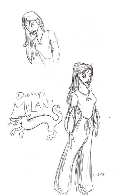 My first-ever drawings of Mulan (based on having seen brief samples of concept art and a teaser trailer)