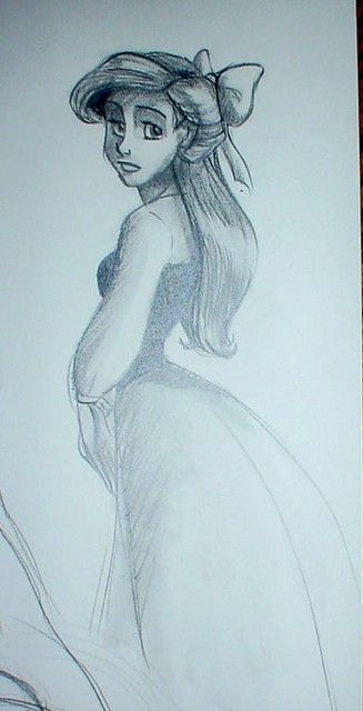 A sketch of Ariel, done while trying to pass the time in a figure drawing class